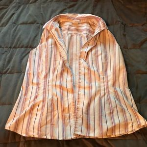 Striped sleeveless button-up top